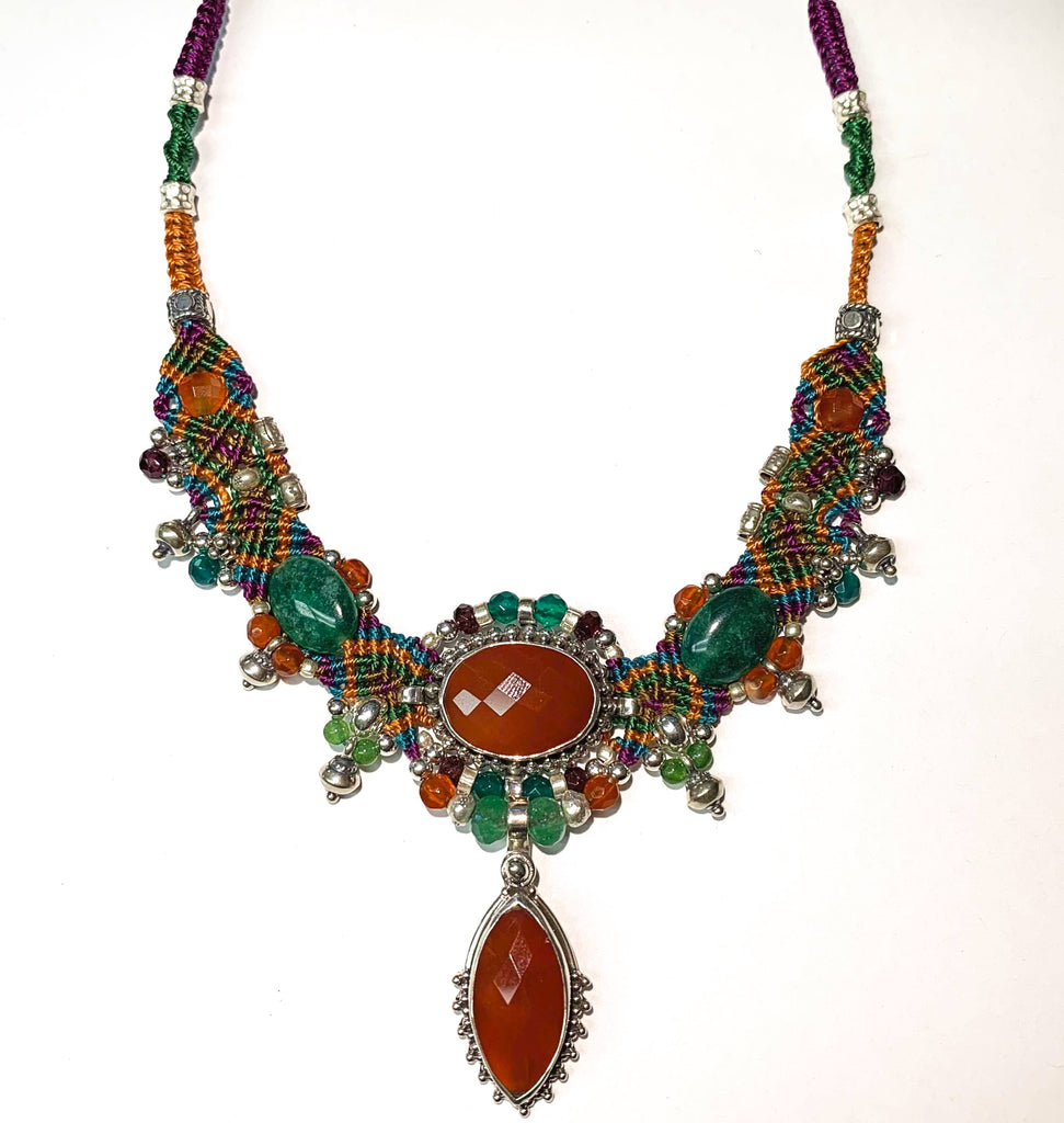 Isha Elafi New Chocker Orange,Green With Carnelian