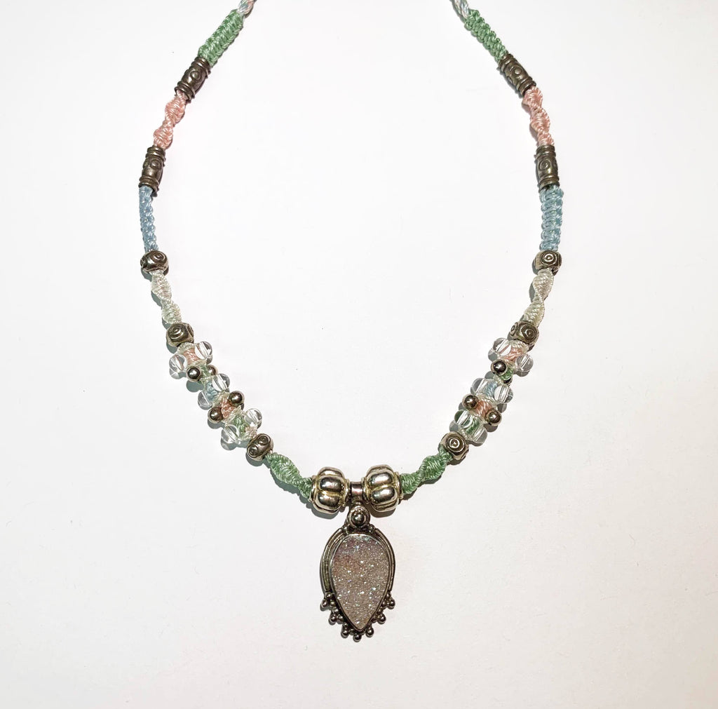 Isha Elafi Jay Necklace White,Blue,Pink With a Light Pink Druzy