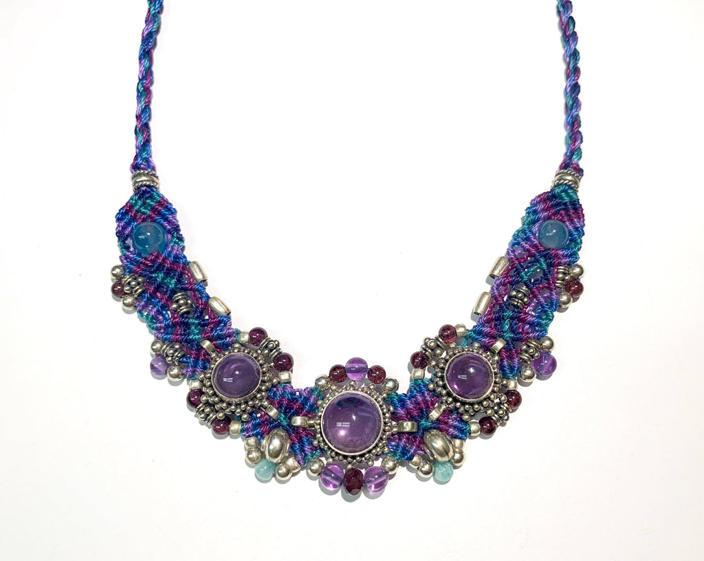 Isha Elafi Simple Chocker Blue,Purple With Amethyst