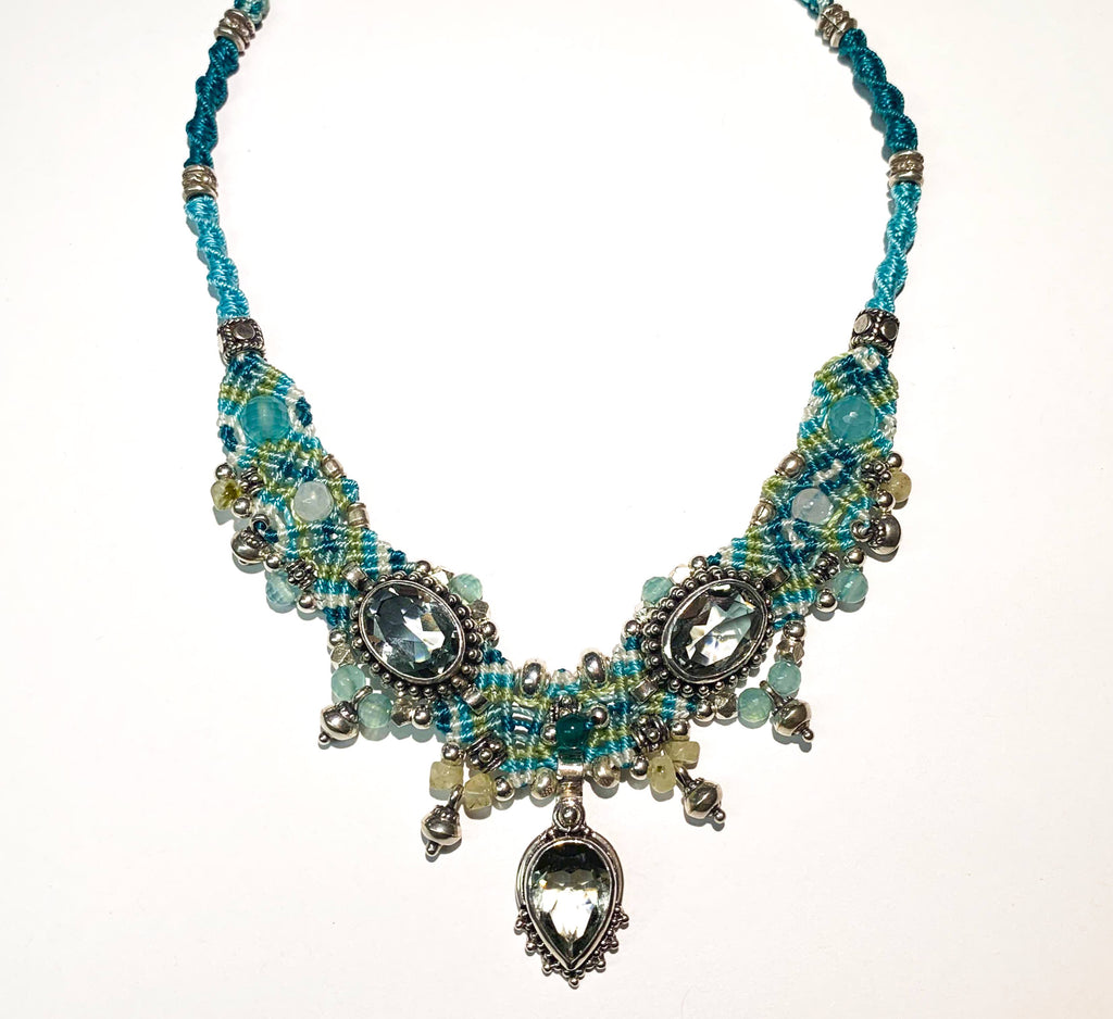 Isha Elafi Chocker Blue,Green With Aquamarine