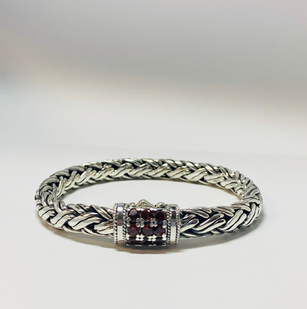 House of Bali by George Thomas Sterling Silver Bracelet With Red Garnets.