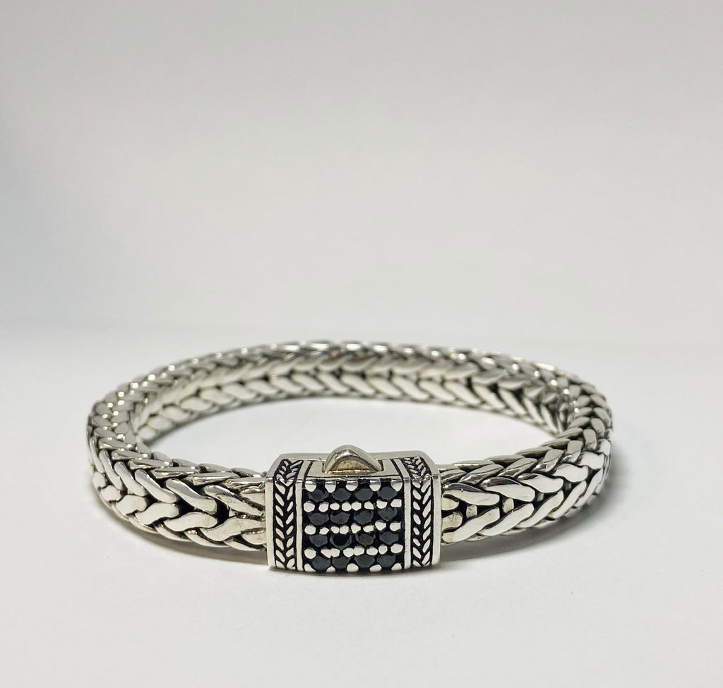 House of Bali by George Thomas Sterling Silver Bracelet With a Square Flat Top With Black Spinels.