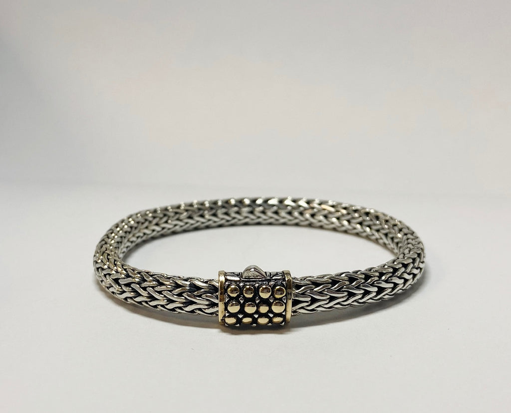 House of Bali by George Thomas Sterling Silver Bracelet With Gold Bubbles on The Clasp