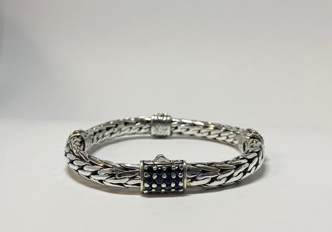 House of Bail by George Thomas Sterling Silver Bracelet With Black Spinels Sections.