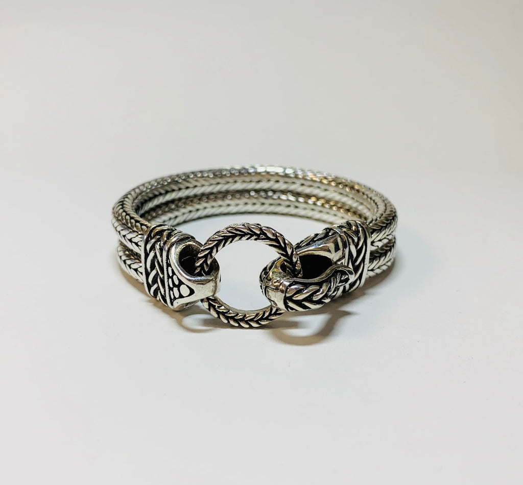 House of Bali By George Thomas Sterling Silver Braided Bracelet With A Hinged Clasp.
