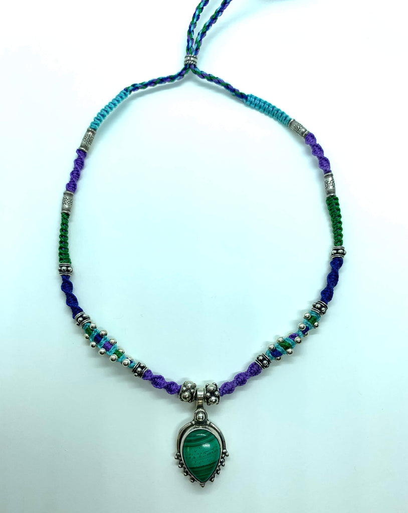 Isha Elafi Joy Necklace Green Purple and Blue With Malachite