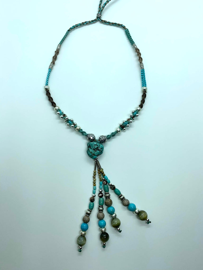 Isha Elafi Joy Tassel Necklace Green Brown With Turquoise