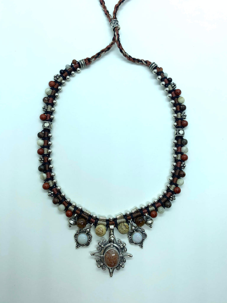 Isha Elafi Snake Necklace Black Brown Beige With Sunstone and Opal