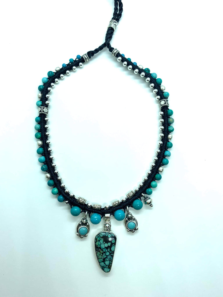 Isha Elafi Snake Necklace Black With Turquoise