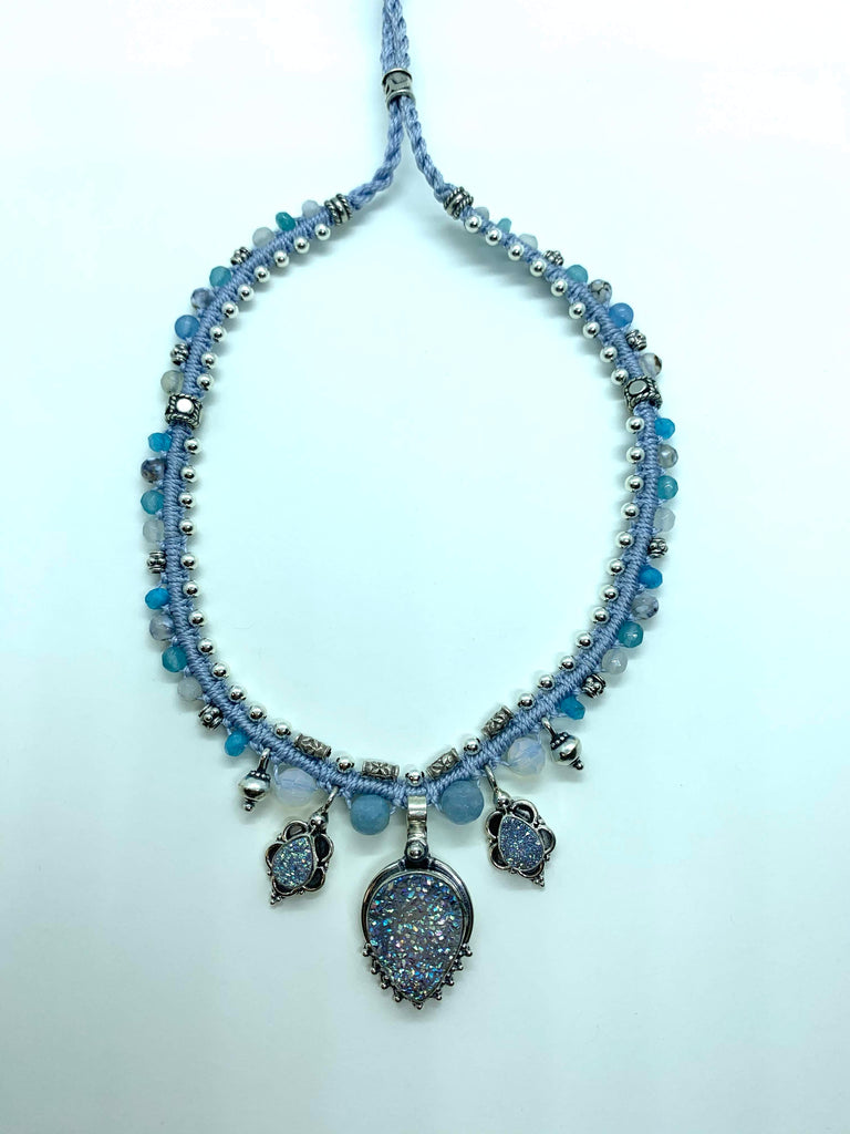 Isha Elafi Snake Necklace Blue With Silver Druzy