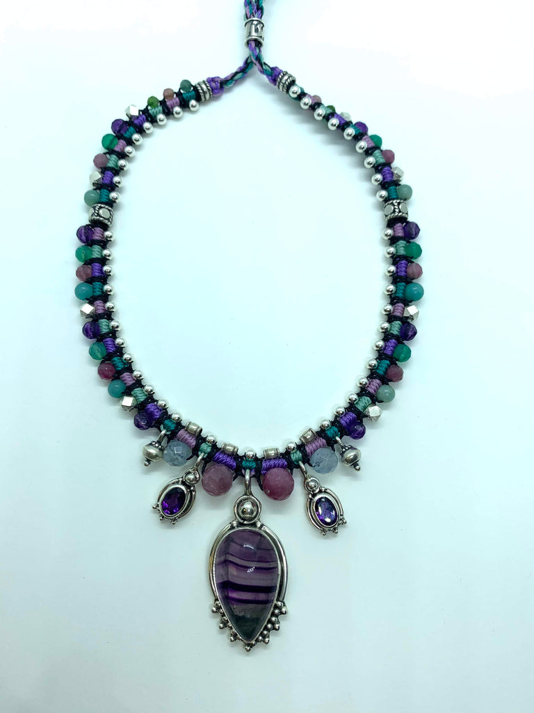 Isha Elafi Snake Necklace Purple Blue Pink With Amethyst and Fluorite