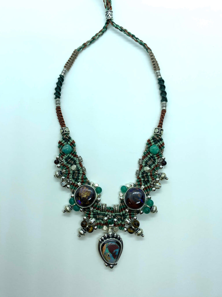 Isha Elafi Choker Brown Green Mint With Opal