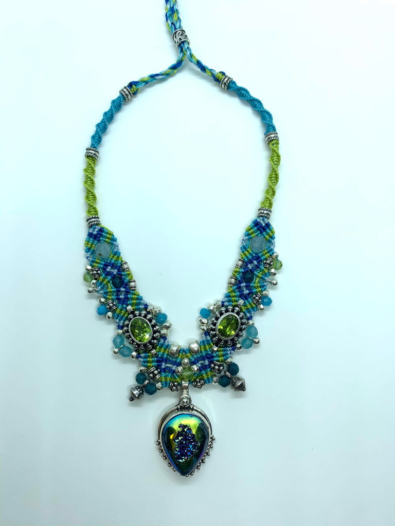 Isha Elafi Choker lime Green Blue With Druzy and Peridot