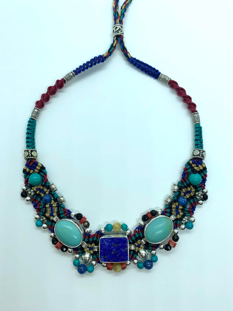 Isha Elafi Small Chocker Blue Red Gold With Lapis and Turquoise