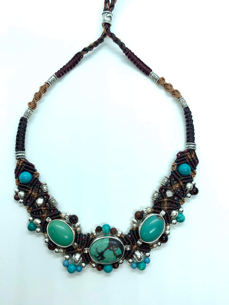 Isha Elafi Small Chocker Browns and Turquoise With Turquoise Stone.