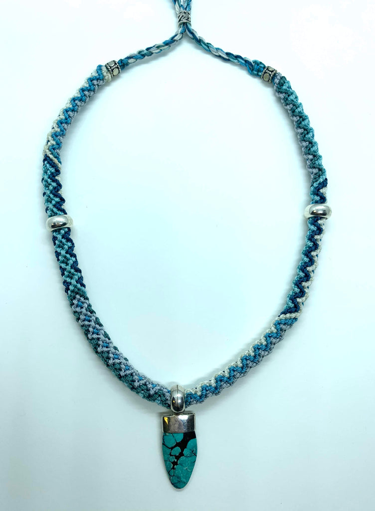 Isha Elafi Rope Necklace Blue White With a Turquoise Drop