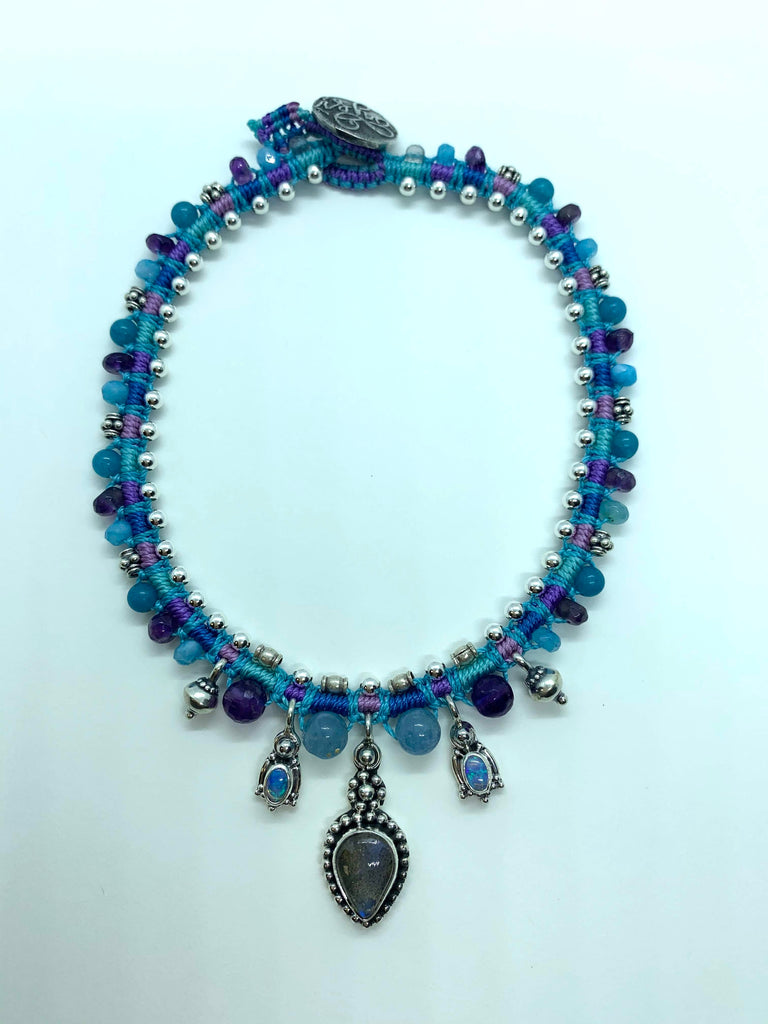 Isha Elafi Snake Anklet Blue Purple With Labradorite