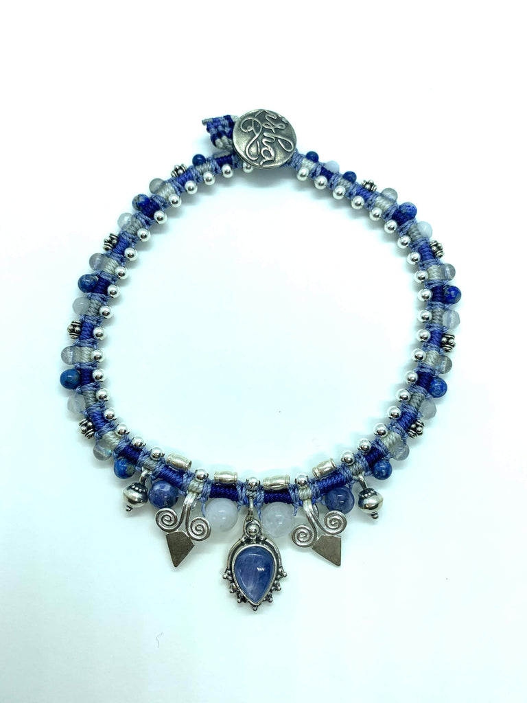 Isha Elafi Snake Anklet Blue White With a Kyanite