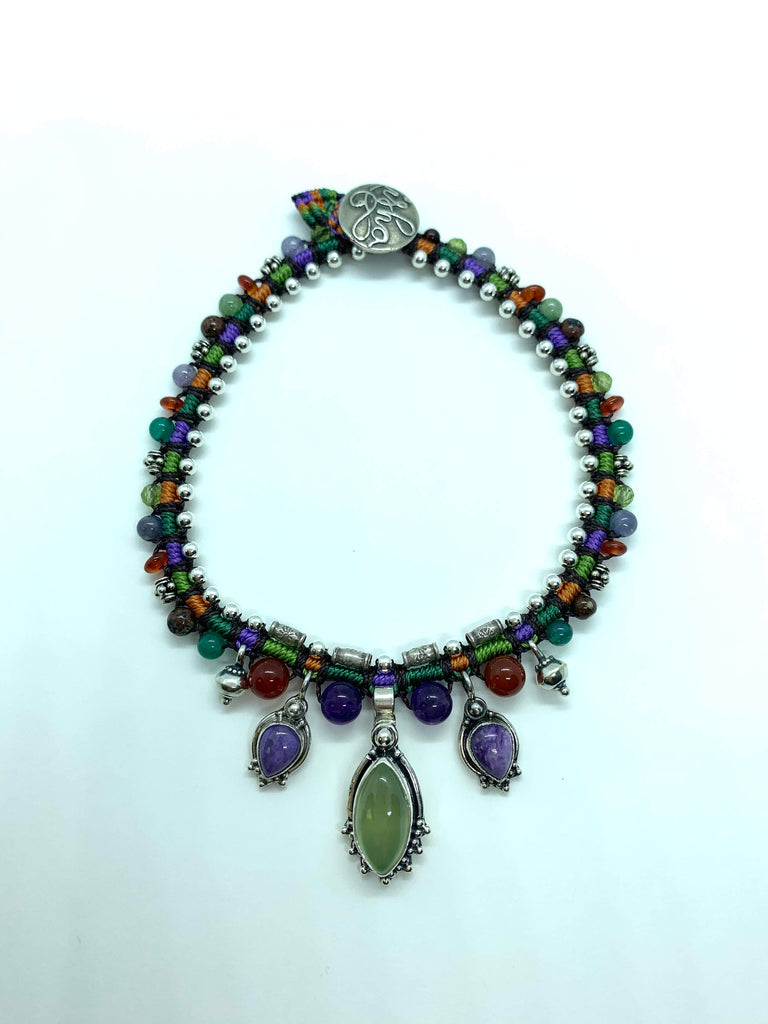 Snake Anklet Purple  Green Orange With Sugilite