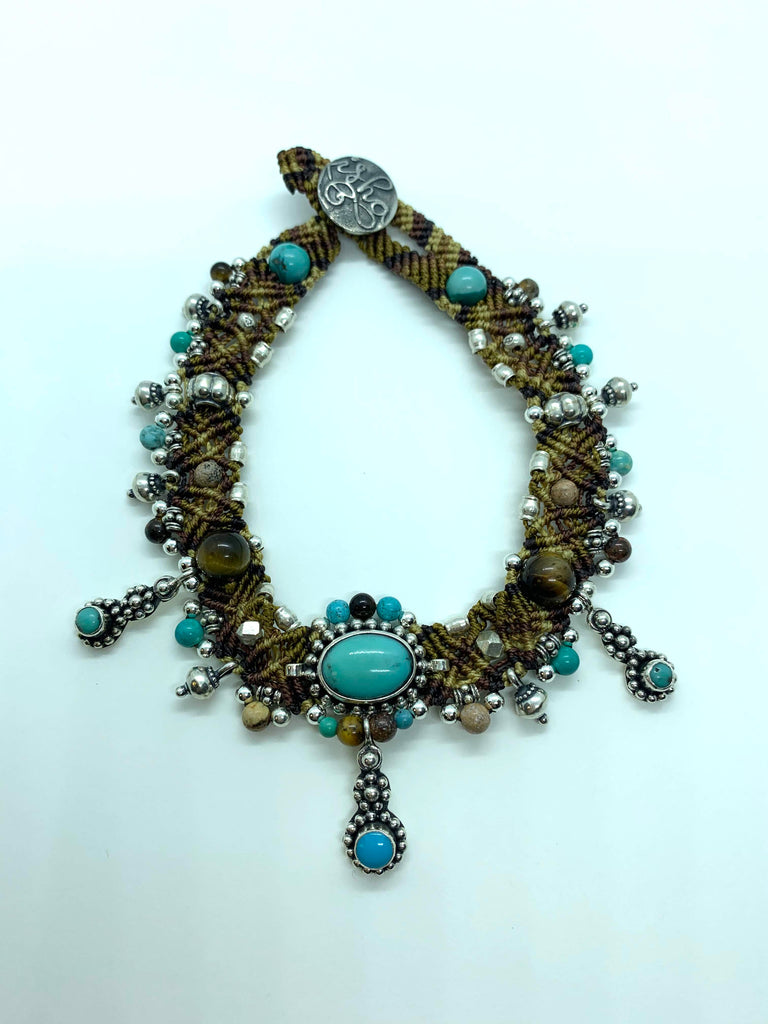 Isha Elafi Anklet Chocker Brown Turquoise With a Turquoise Drop