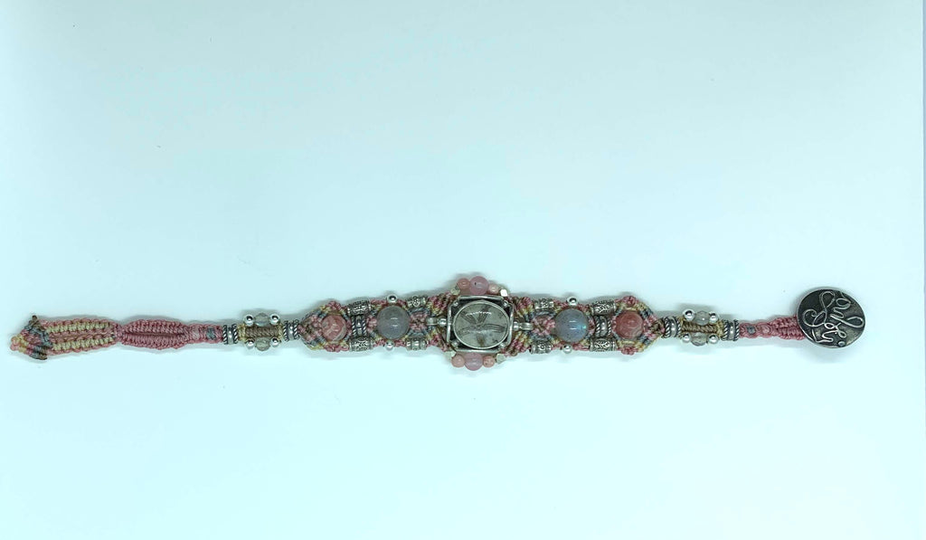 Isha Elafi Gio Bracelet Pink White With Jasper and a Fossil