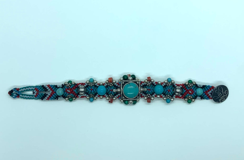 Isha Elafi Simple Bracelet Turquoise Red Blue Black With A Turquoise Stone