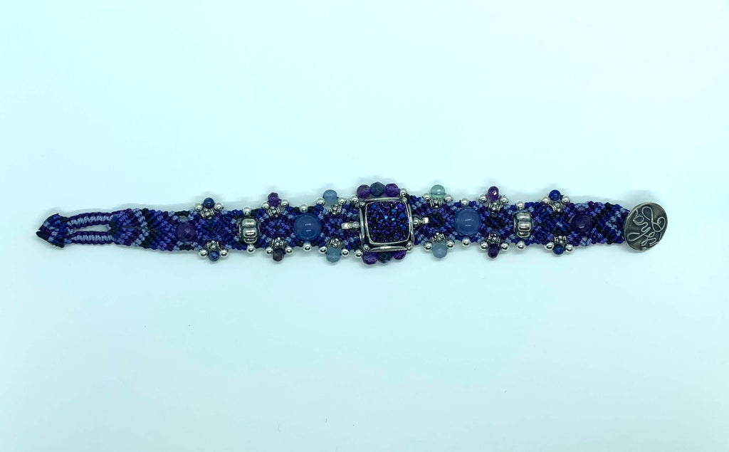 Isha Elafi Simple Bracelet Purple With Purple Druzy