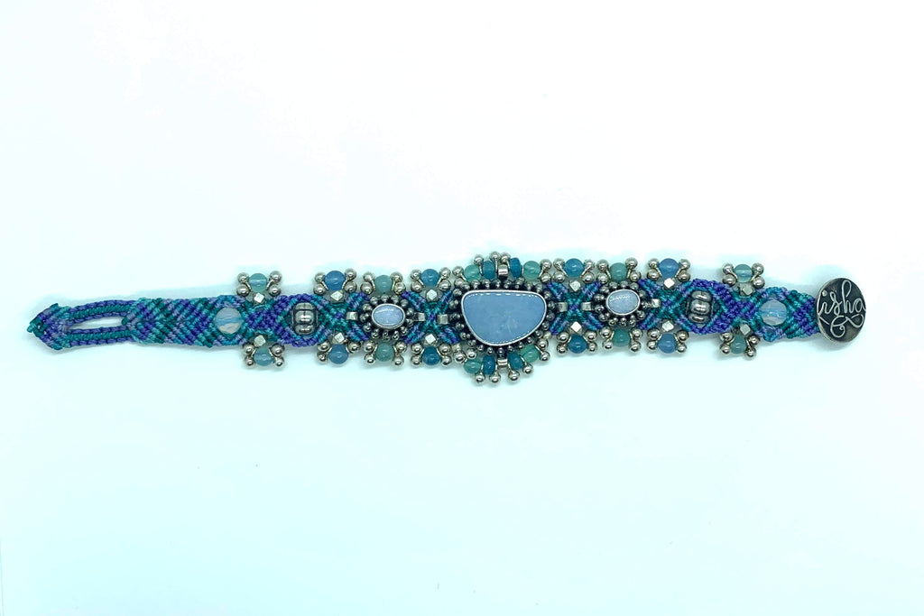 Isha Elafi Silver Drop Bracelet Lite Blue Purple With 3 Blue Opals