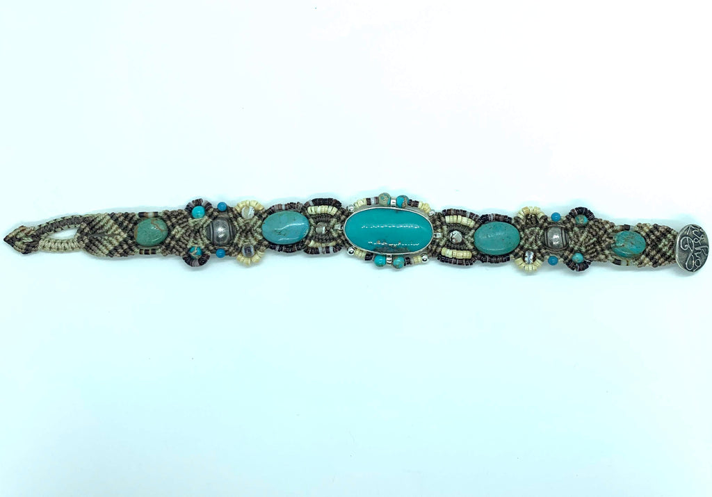 Isha Elafi Olop Bracelet Brown Tan Cream With Turquoise Stones