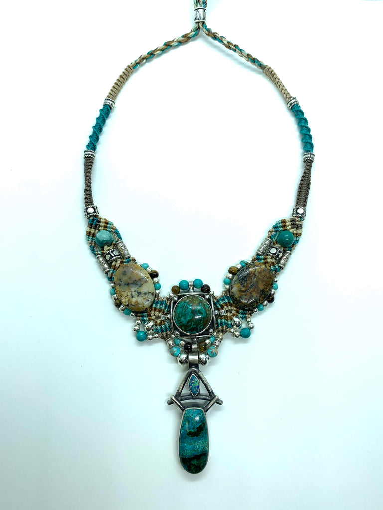 Isah Elafi Big Gio Necklace Teal Brown With Turquoise