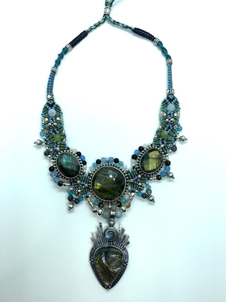 Isha Elafi Big Choker Lite Blue Green With Labradorite