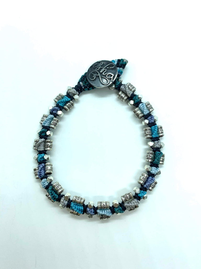 Isah Elafi Rail Bracelet Blue Silver Purple With Silver Beads