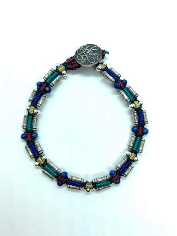 Isha Elafi Rail Bracelet Blue Red Gold teal With Silver Beads