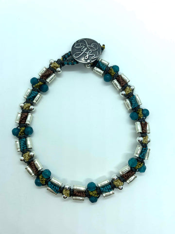 Isha Elafi Rail Bracelet Teal and Brown With Silver Beads