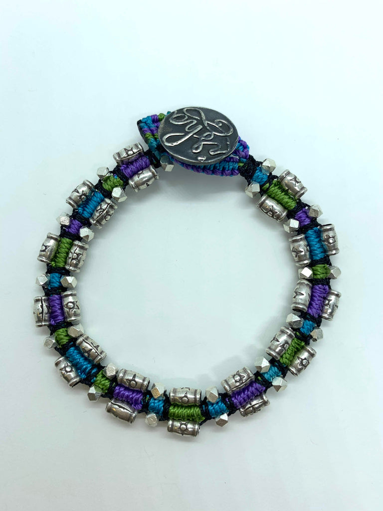 Isha Elafi Rail Bracelet Purple Green Teal With Silver Beads 6-1/4""