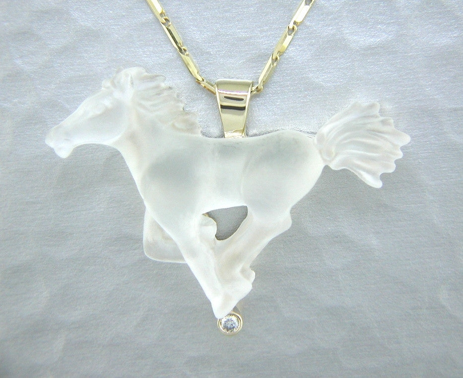 Cast Glass Spirit Horse in 14kt yellow gold