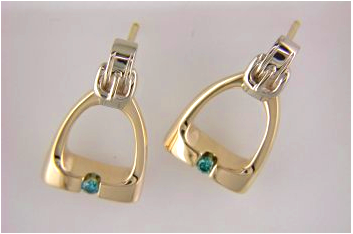 Stirrup Earrings in 14k Yellow & White Gold with Teal Diamonds