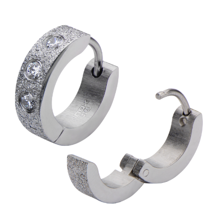 Stainless Steel Diamond Dusted Huggies with Cubic Zirconias