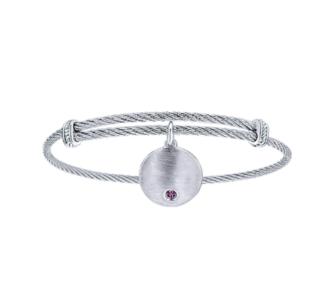 Gabriel & Co. Amethyst Charm Bangle