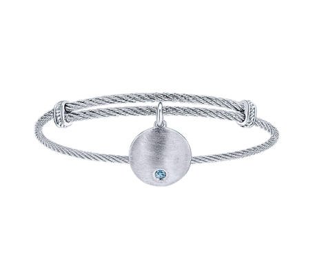 Gabriel & Co. Sky Blue Topaz Charm Bangle