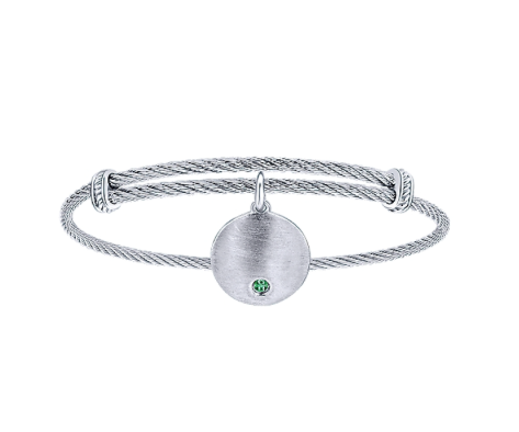 Gabriel & Co. Emerald Charm Bangle