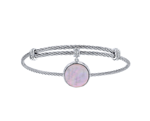 Gabriel & Co. Rock Crystal & Pink Mother of Pearl Charm Bangle