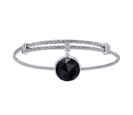 Gabriel & Co. Rock Crystal & Black Onyx Charm Bangle