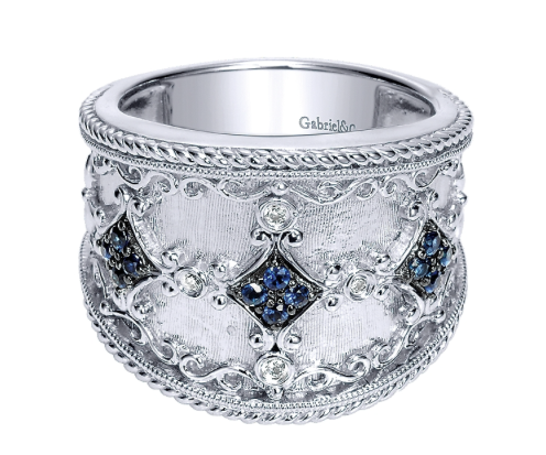 Gabriel & Co. Silver with Blue Sapphire Wide Band Ring