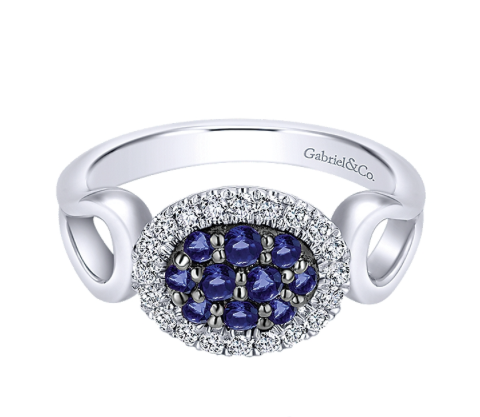 Gabriel & Co. Silver with White & Blue Sapphire Ring