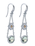 Gabriel & Co. Sterling Silver & 18k Yellow Gold Green Amethyst Drop Earrings