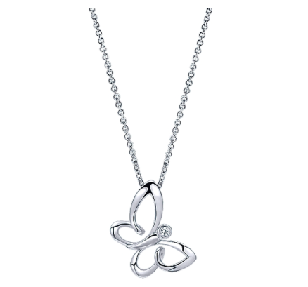 Gabriel & Co. Sterling Silver Butterfly Necklace with White Sapphire