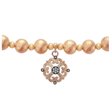 Gabriel & Co. Pink Plated Sterling Silver Bead Bracelet with White Sapphires
