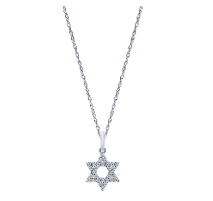 Gabriel & Co. 14k White Gold Star of David Necklace with Diamonds