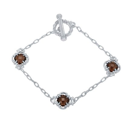 Gabriel & Co. Sterling Silver Chain Bracelet with Smoky Quartz